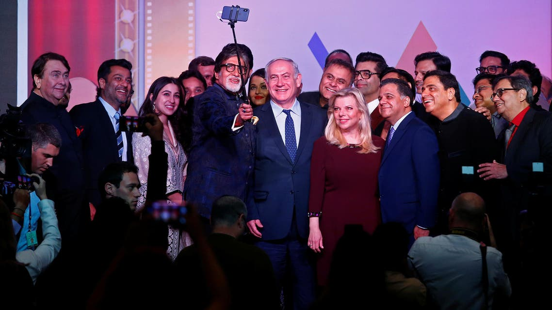 Amitabh Bachchan takes selfie with Benjamin Netanyahu, his wife Sara and other Bollywood personalities in Mumbai on January 18, 2018. (Reuters)