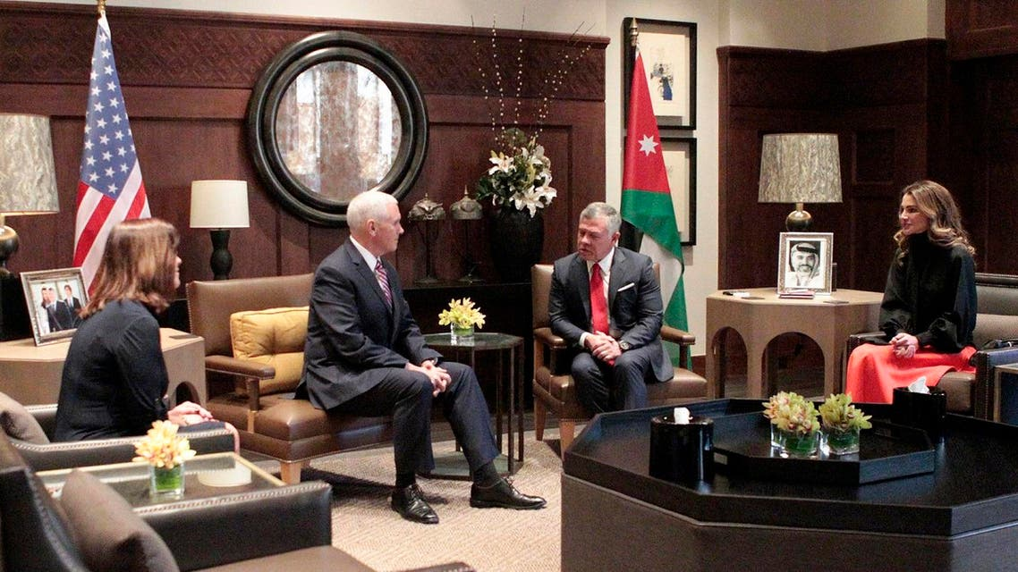 Jordanian King Abdullah II and Queen Rania of Jordan meeting with US Vice President Mike Pence and his wife Karen Pence in the capital Amman. (AFP)