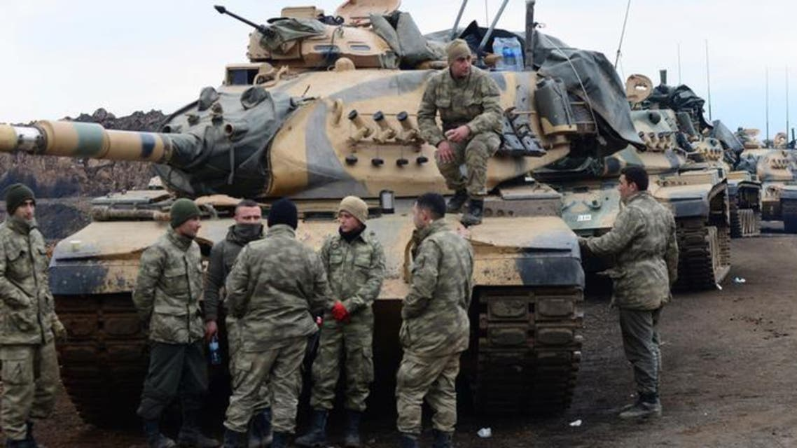 قوات تركية على الحدود السورية في 21 يناير