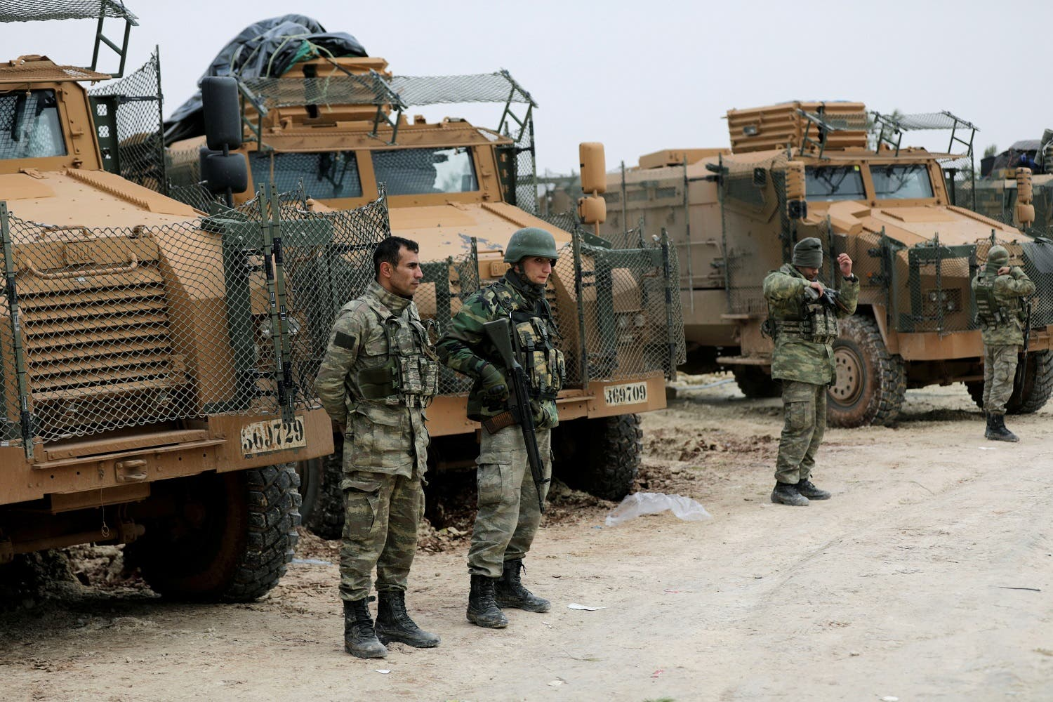 Turkish forces are seen near Mount Barsaya, northeast of Afrin, Syria January 22,2018. (Reuters)