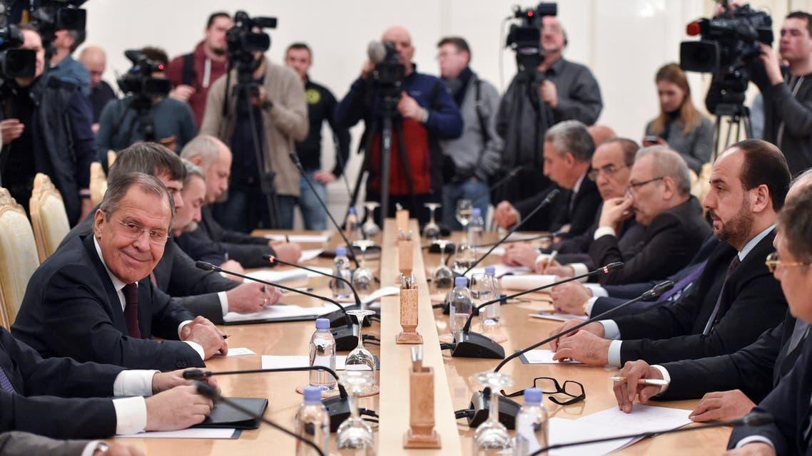 جانب من اجتماعات موسكو - سيرغي لافروف - نصر الحريري 3