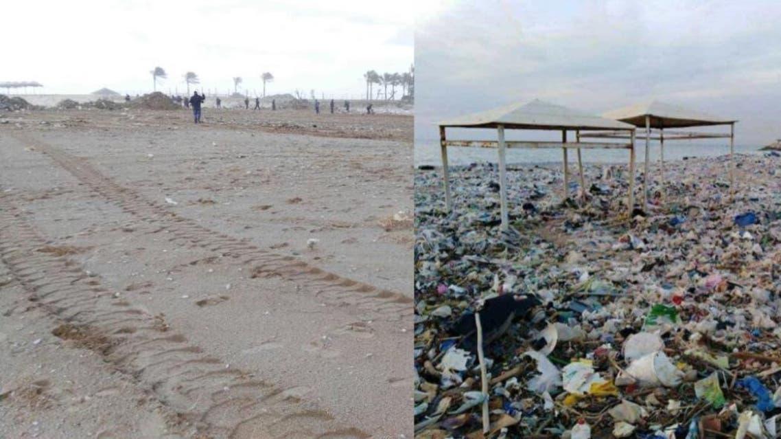 شاطئ النفايات لبنان
