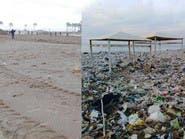 """شاهد """"شاطئ النفايات"""" بلبنان.. قبل وبعد التنظيف"""