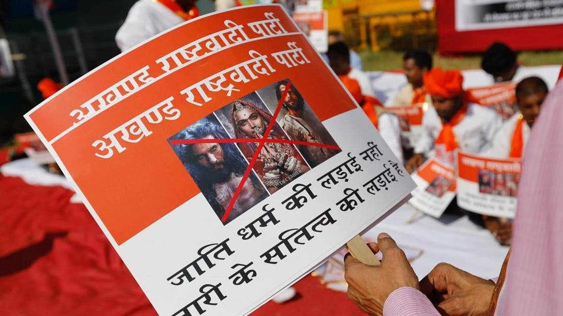 Members of the Rajput community protest against the release of the upcoming Bollywood movie 'Padmaavat' in Mumbai. (Reuters)
