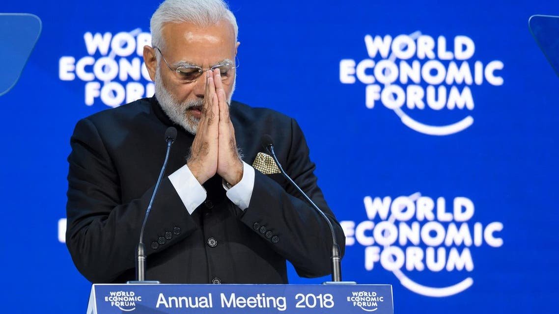 Indian Prime Minister Narendra Modi gestures as he delivers his speech at the opening day the World Economic Forum (WEF) 2018 annual meeting, on January 23, 2018 in Davos. (AFP)