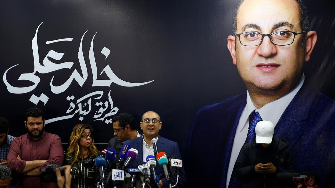 Egypt's Presidential candidate Khaled Ali is seen speaking during a press conference in Cairo, Egypt January 24,2018. (Reuters)