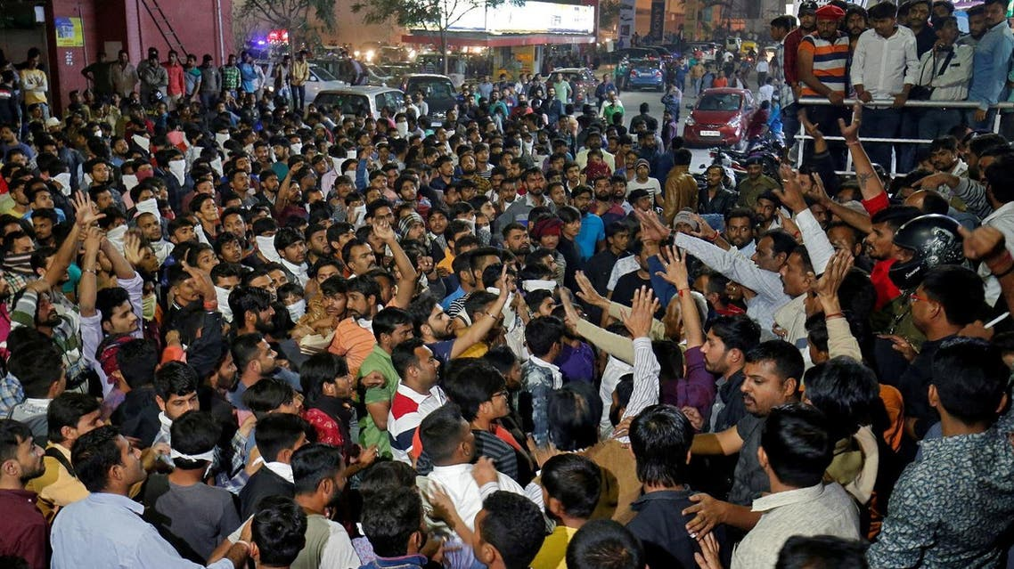 Demonstrators shout slogans outside a multiplex during a protest against the release of the upcoming Bollywood movie 'Padmaavat' in Ahmedabad, on  January 23, 2018. (Reuters)