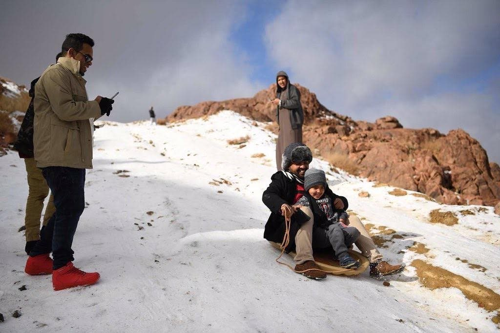 Snow in Al-Lawz mountains saudi arabia (Supplied)