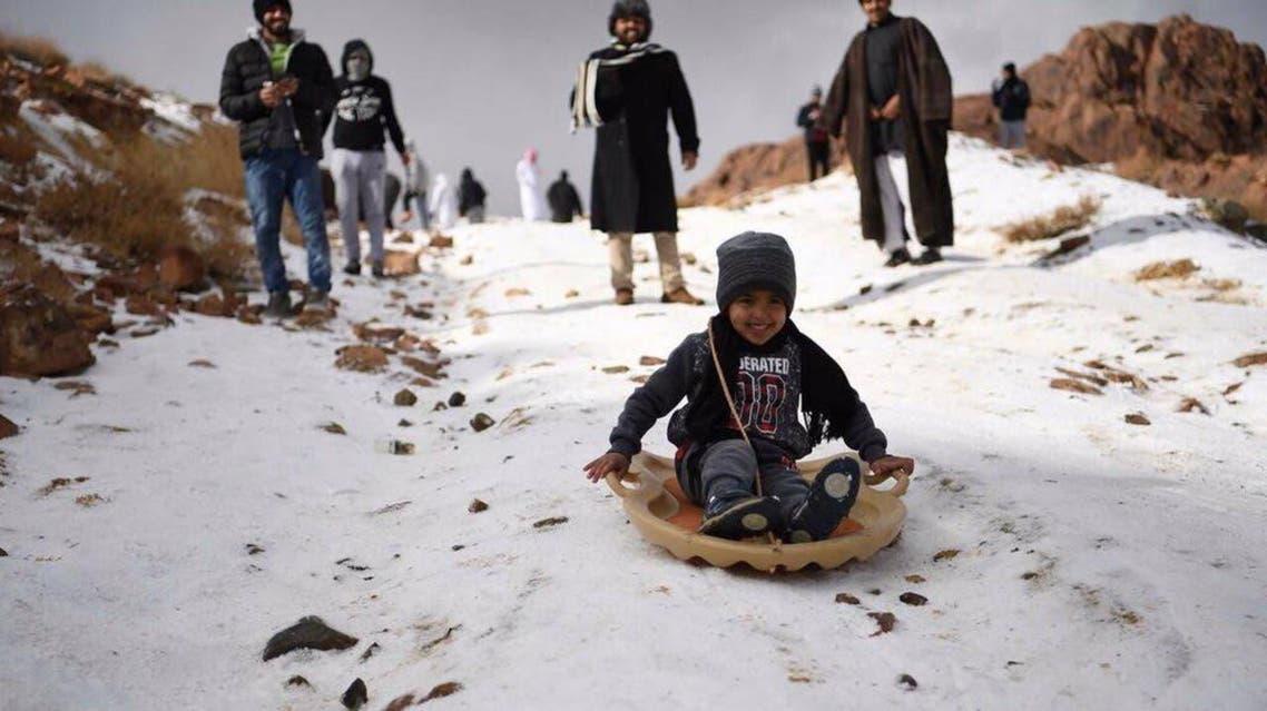 Snow in Al-Lawz mountains saudi arabia (Supplied)