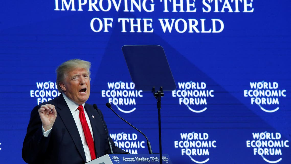 (Reuters) President Donald Trump gestures while speaking at Davos, January 26, Switzerland