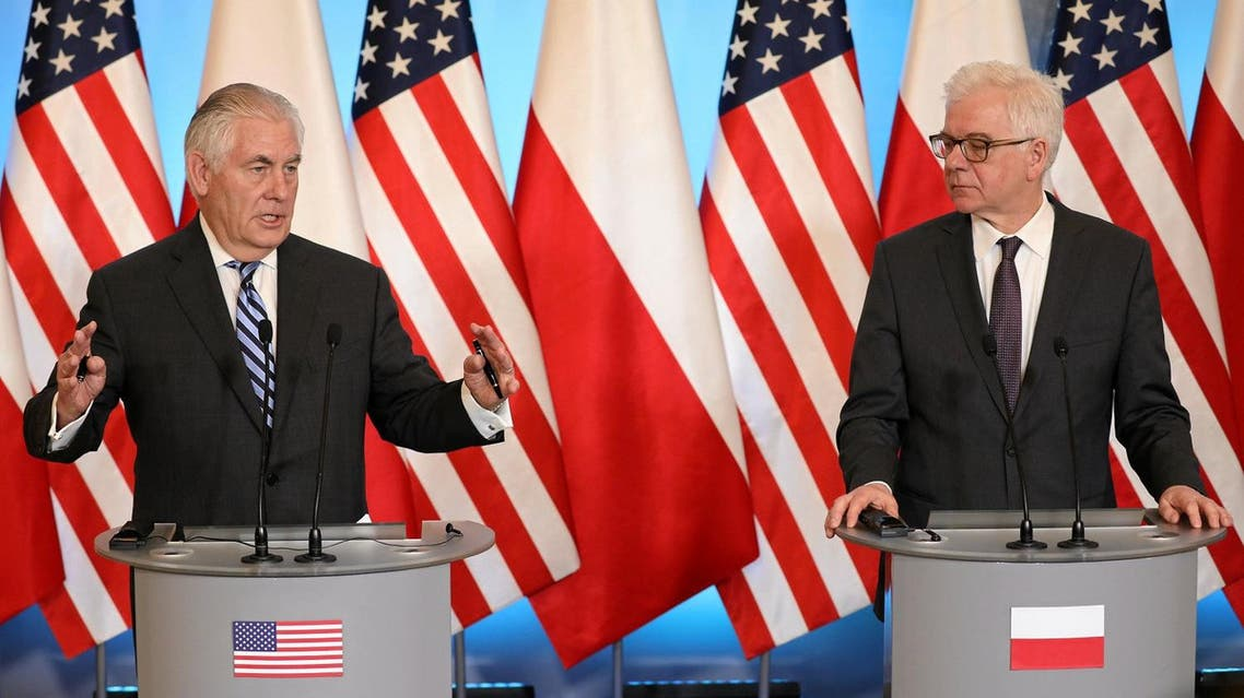 US Secretary of State Rex Tillerson   and Poland's Foreign Minister Jacek Czaputowicz attend a news conference in Warsaw, Poland, on January 27, 2018. (Reuters)