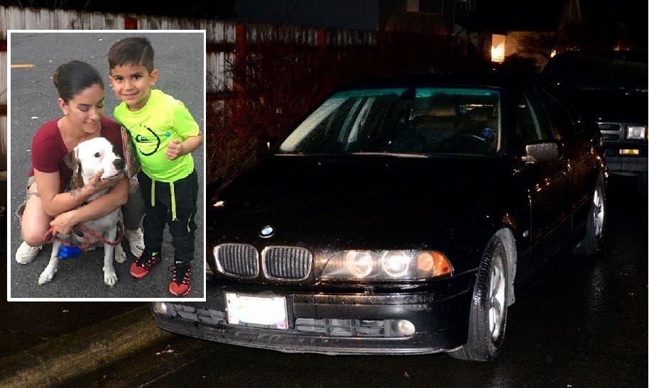 السيارة التي عثروا في صندوقها على حقيبتين فيهما الجثة المقطعة الأعضاء، وفي الإطار صورتها مع ابنها