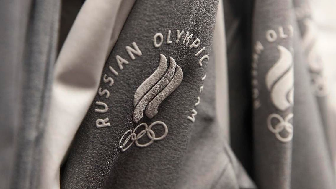 The logo of Russian Olympic team is seen on the uniform designed by ZASPORT. (Reuters)