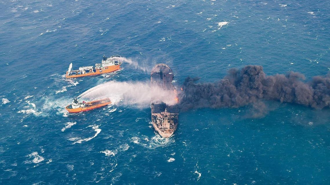 Rescue ships work to extinguish the fire on the Panama-registered Sanchi tanker carrying Iranian oil. (Reuters)