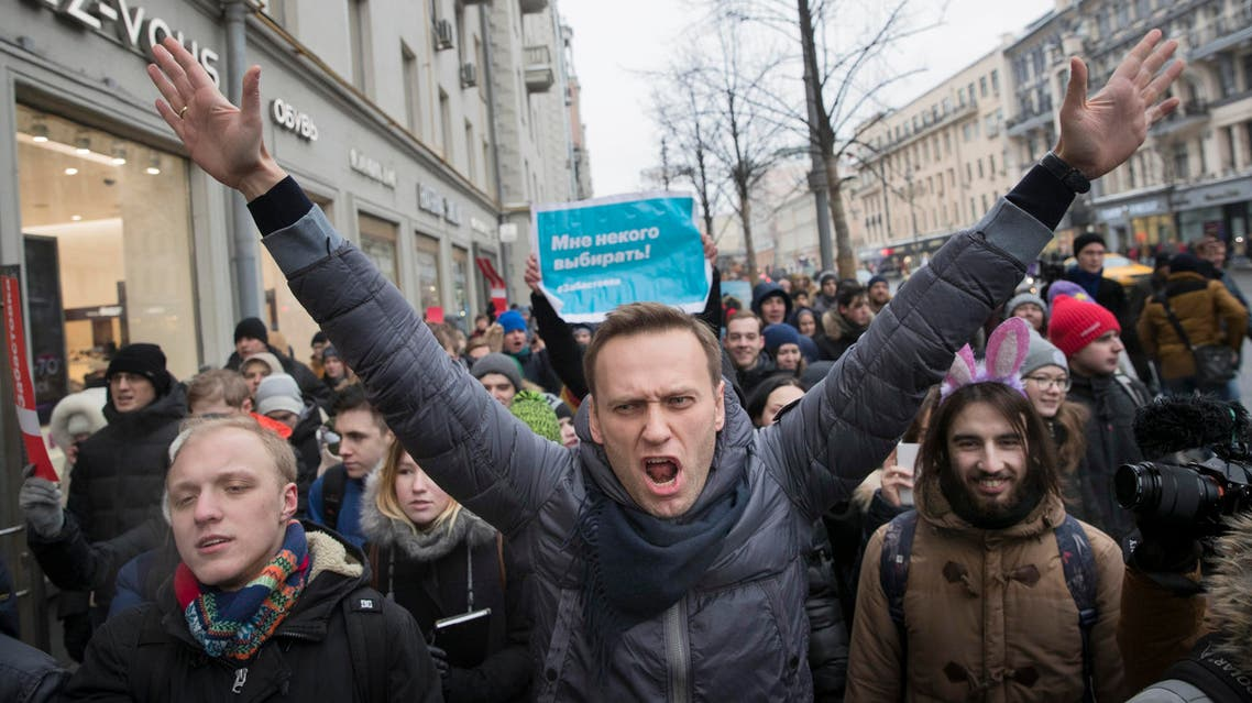 Russian opposition leader Alexei Navalny during a rally in Moscow, Russia, Jan. 28, 2018. (AP)