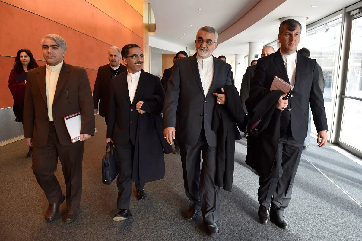 Alaeddin Boroujerdi, (2R) Chairman for the Committee for Foreign Policy of Iran, arrives with a delegation at the European Parliament, in Brussels, Belgium, January 23, 2018. (Reuters)