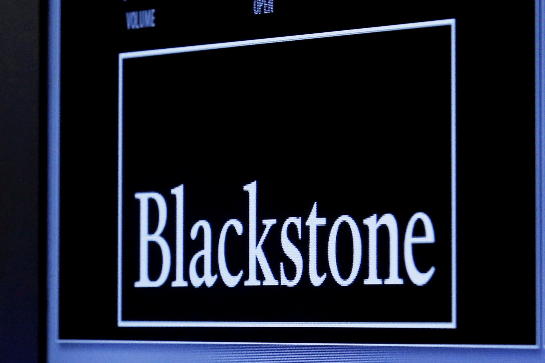 The logo of Blackstone Group is displayed at the post where it is traded on the floor of the New York Stock Exchange. (Reuters)