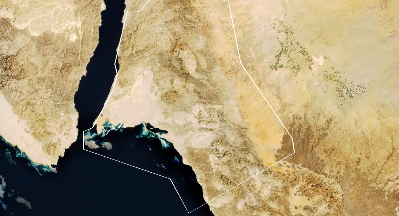A satellite photograph showing the proposed location of Neom next to the Red Sea. (Supplied)