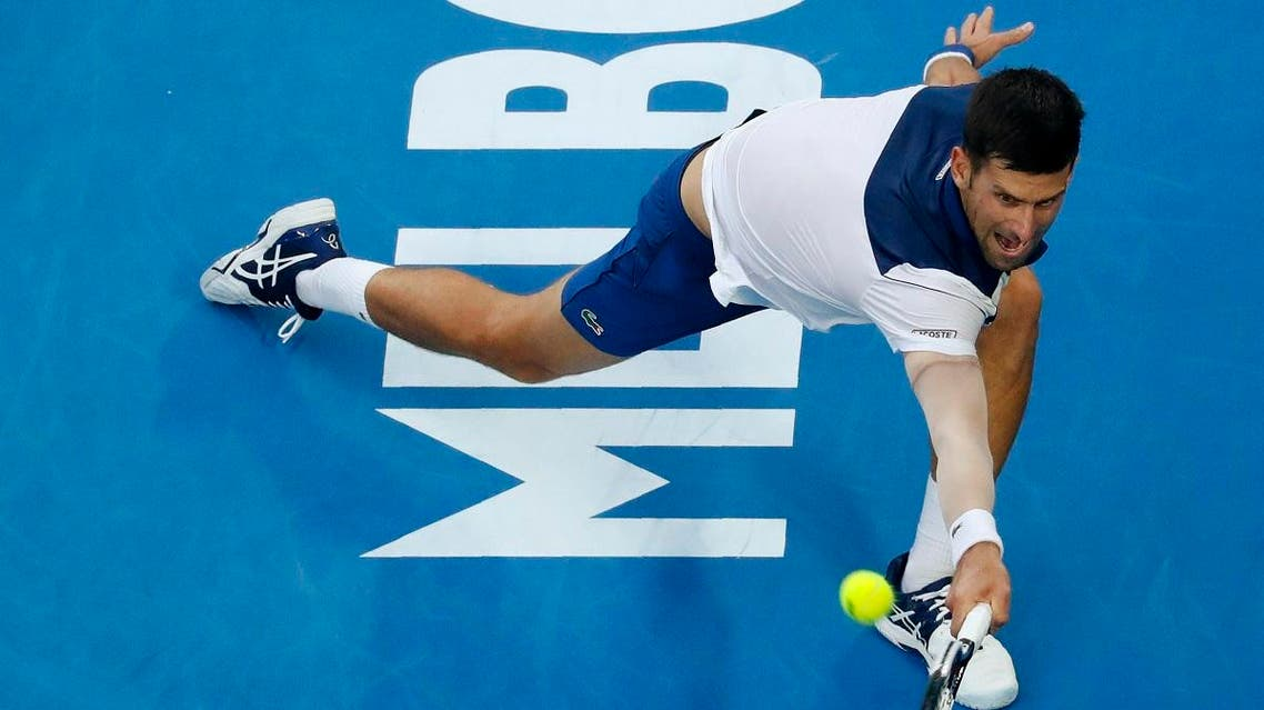 Novak Djokovic of Serbia stretches for a shot against Chung Hyeon of South Korea. (Reuters)