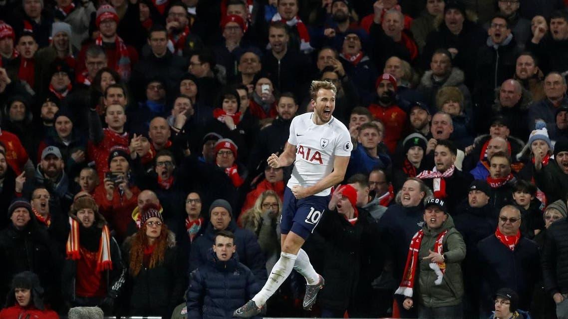 Tottenham's Harry Kane celebrates scoring their second goal . (Reuters)
