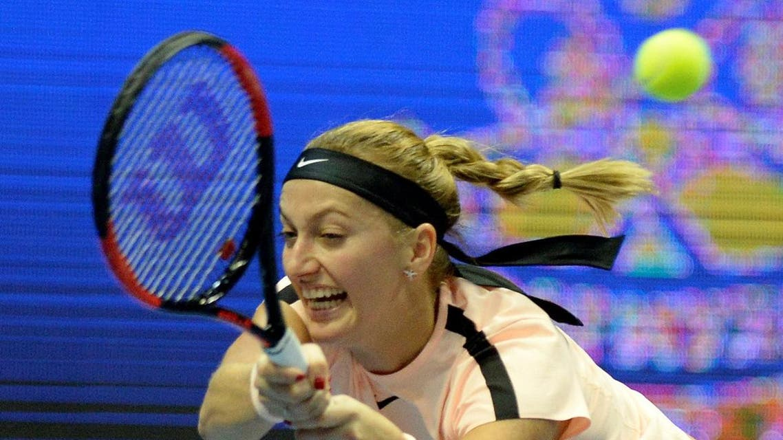 Czech Republic's Petra Kvitova returns the ball to France's Kristina Mladenovic during the St Petersburg WTA tennis tournament in Saint Petersburg. (AFP)