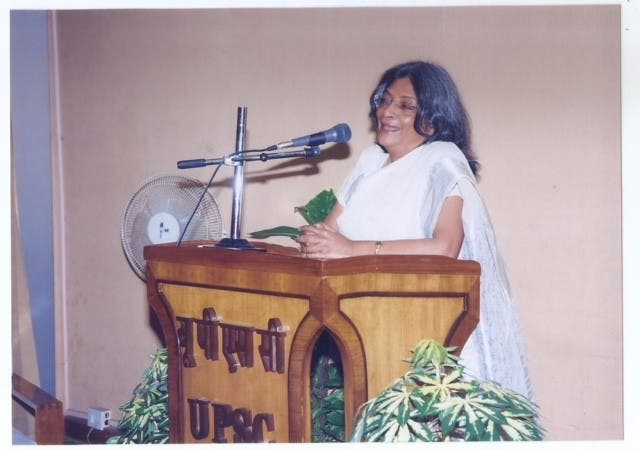 Parveen Talha delivering a talk during her stint as Member of the Union Public Service Commission. (Supplied)