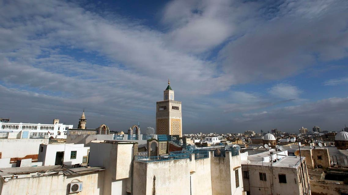 A mosque is seen, center, in Tunis. (AP)