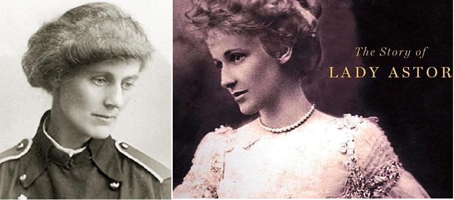 من اليمين نانسي أستور، أول نائبة بالبرلمان البريطاني، ثم أول من فازت بانتخابات وانسحبت