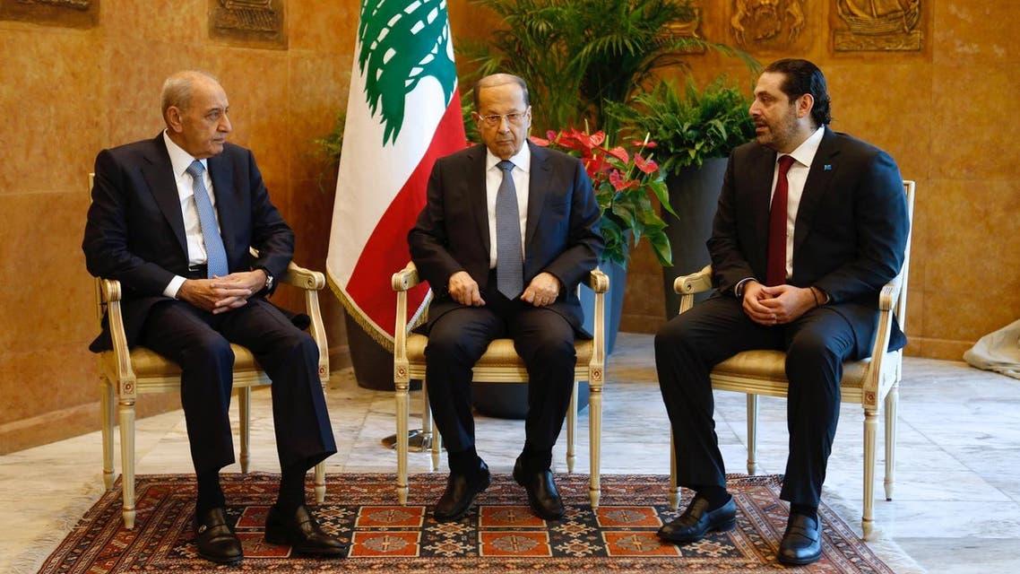 Lebanese President Michel Aoun meets with Prime Minister Saad al-Hariri, and Lebanese Parliament Speaker Nabih Berri at the presidential palace in Baabda, Lebanon February 6, 2018. (Reuters)