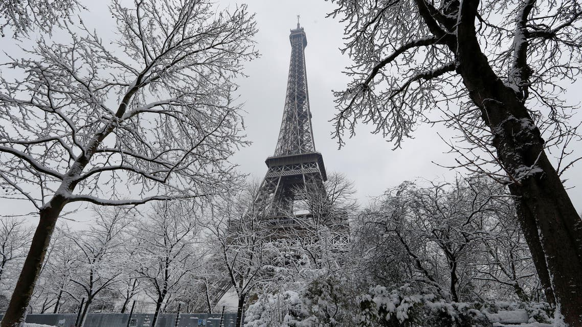 Snow-covered trees are seen near the Eiffel Tower in Paris, as winter weather with snow and freezing temperatures arrive in France, February 7, 2018. REUTERS