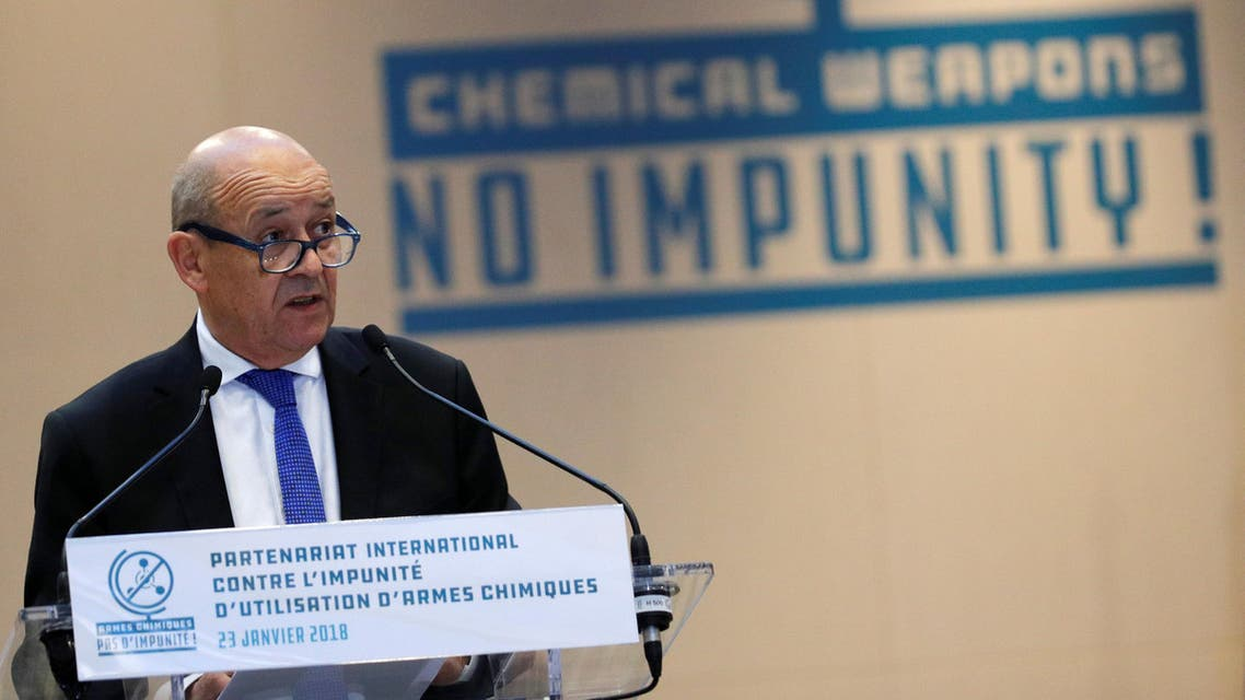 French Foreign Affairs Minister Jean-Yves Le Drian delivers a speech during a foreign ministers' meeting on the International Partnership against Impunity for the Use of Chemical Weapons, in Paris, France, January 23, 2018. REUTERS/Philippe Wojazer
