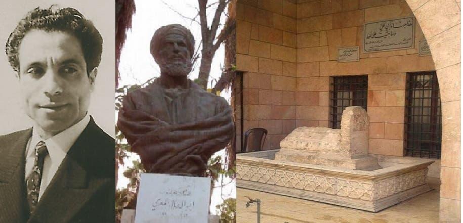 الضريح، حيث حبس أبو العلاء نفسه في بيت كان قربه، والتمثال الذي حطم المتطرفون رأسه، والفنان الذي نحته