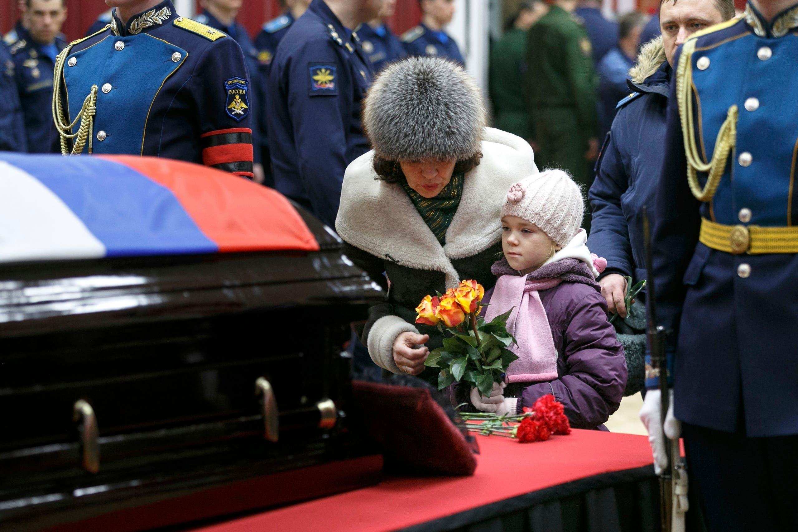 Russian pilot Filipov funeral. (AP)