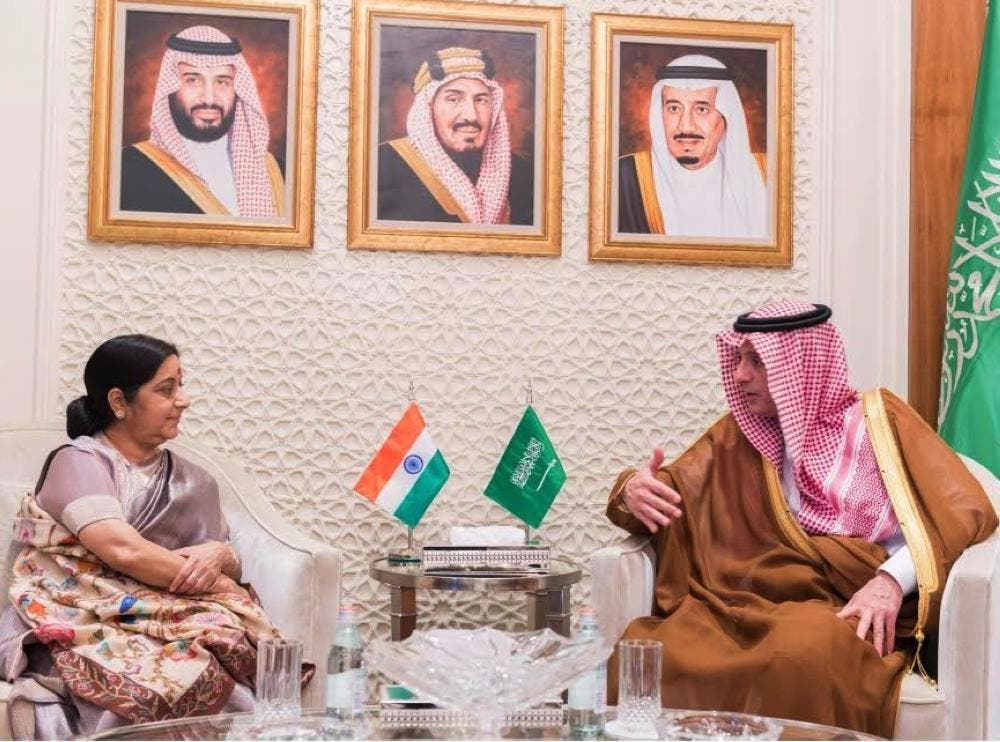 India's Minister of External Affairs Sushma Swaraj with Saudi Foreign Minister Adel Al-Jubeir. (SPA)