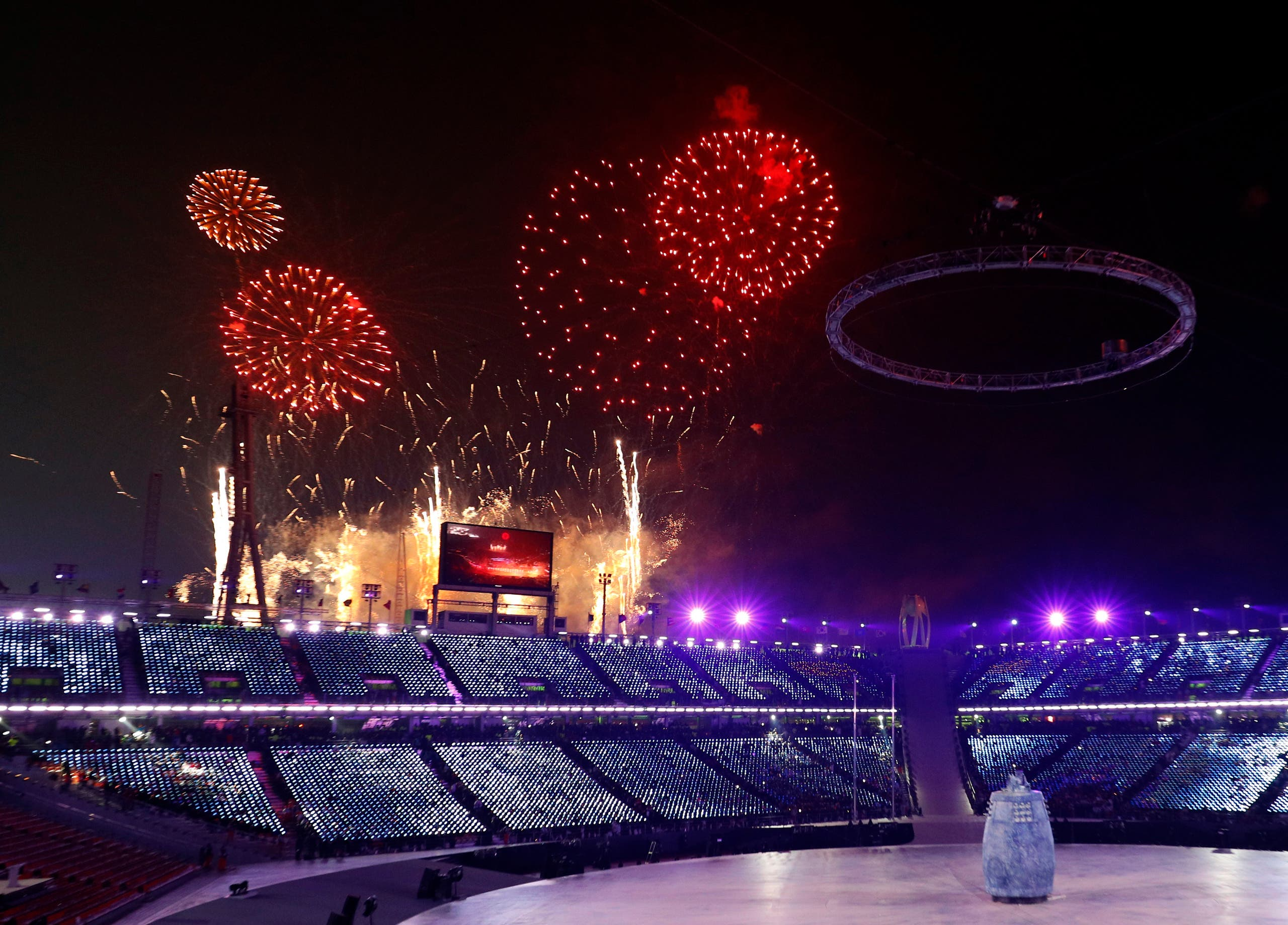 Pyeongchang 2018 Winter Olympics – Opening Ceremony – Pyeongchang Olympic Stadium- Pyeongchang, South Korea – February 9, 2018 - Fireworks during the opening ceremony.