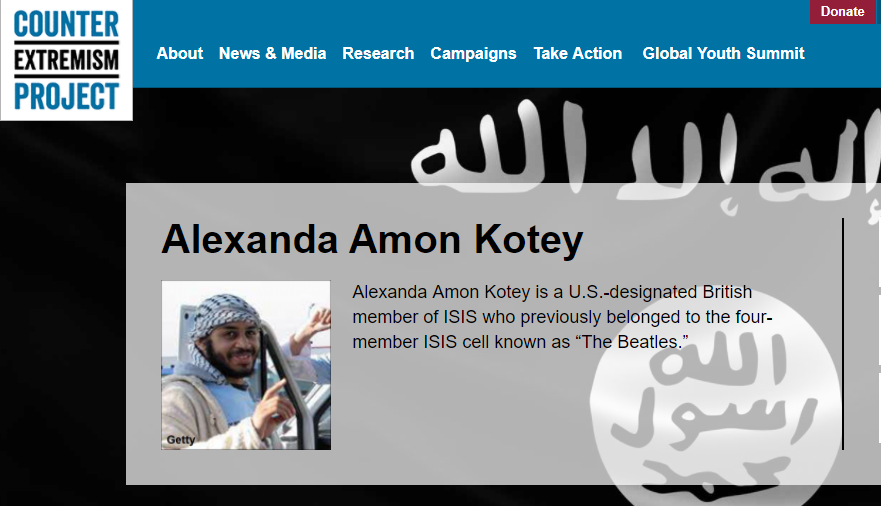 Alexanda Amon Kotey was captured in January in eastern Syria by the US-backed Syrian Democratic Forces. (Screen Grab: Counter Extremism Project)