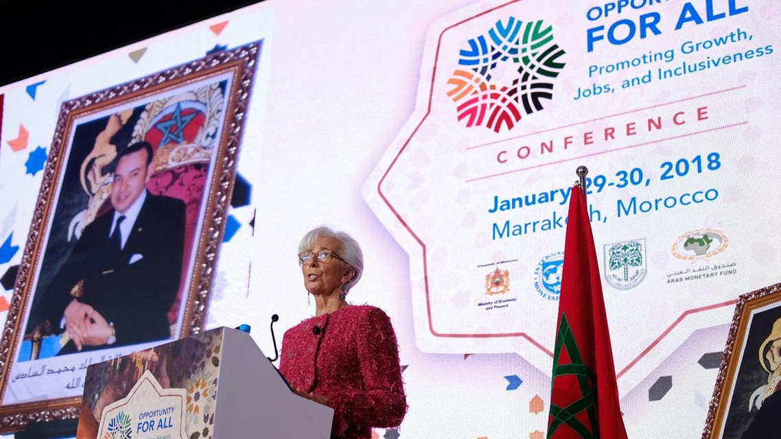 International Monetary Fund (IMF) Managing Director Christine Lagarde speaks during the IMF economic conference in Marrakesh on January 30, 2018. (AFP)