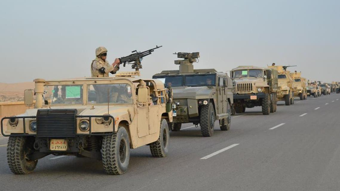 Egyptian Army's Armoured Vehicles are seen on a highway to North Sinai during a launch of a major assault against militants, in Ismailia, Egypt, in this undated handout picture made available by the Ministry of Defence February 9, 2018. Ministry of Defence/Handout via REUTERS ATTENTION EDITORS - THIS IMAGE WAS PROVIDED BY A THIRD PARTY. NO RESALES. NO ARCHIVES