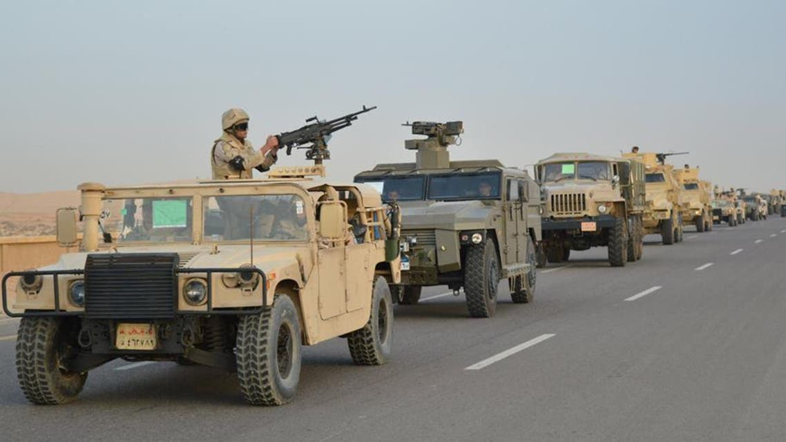 Egyptian Army's Armoured Vehicles are seen on a highway to North Sinai during a launch of a major assault against militants. (Reuters)