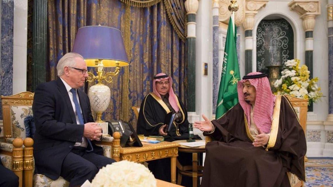 Saudi King Salman and British Conservative party. (SPA)