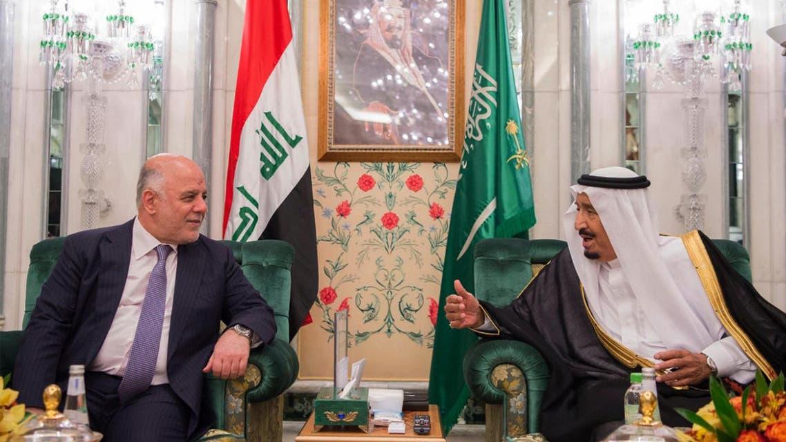 Iraqi prime minister and saudi king salman. (AP)