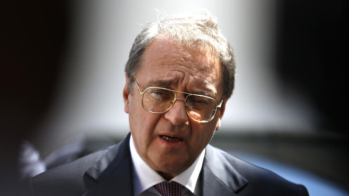 Russian Middle East envoy Mikhail Bogdanov speaks to journalists after meeting with the Palestine Liberation Organisation secretary general in the West Bank city of Ramallah on September 6, 2016.  ABBAS MOMANI / AFP