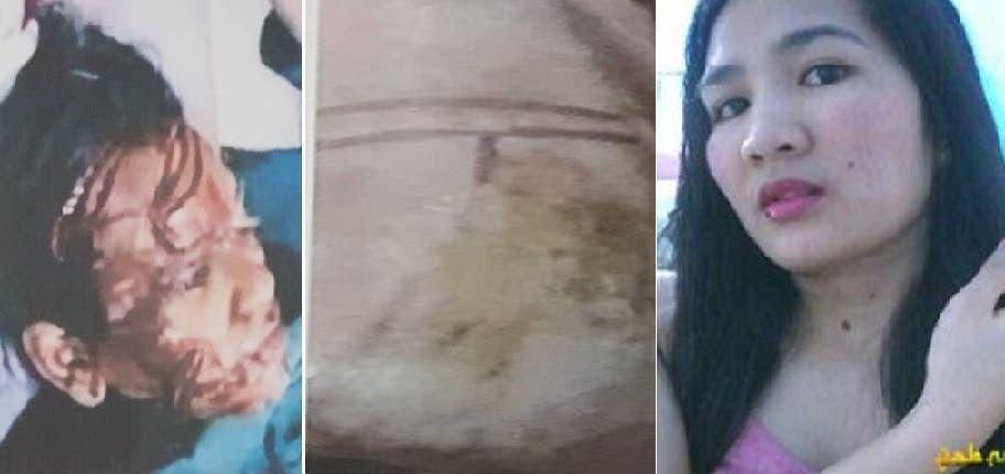 صورة لجوانا قبل مقتلها، ويوم عثروا على آثار تعذيب في جسمها، مع آثار لخنقها
