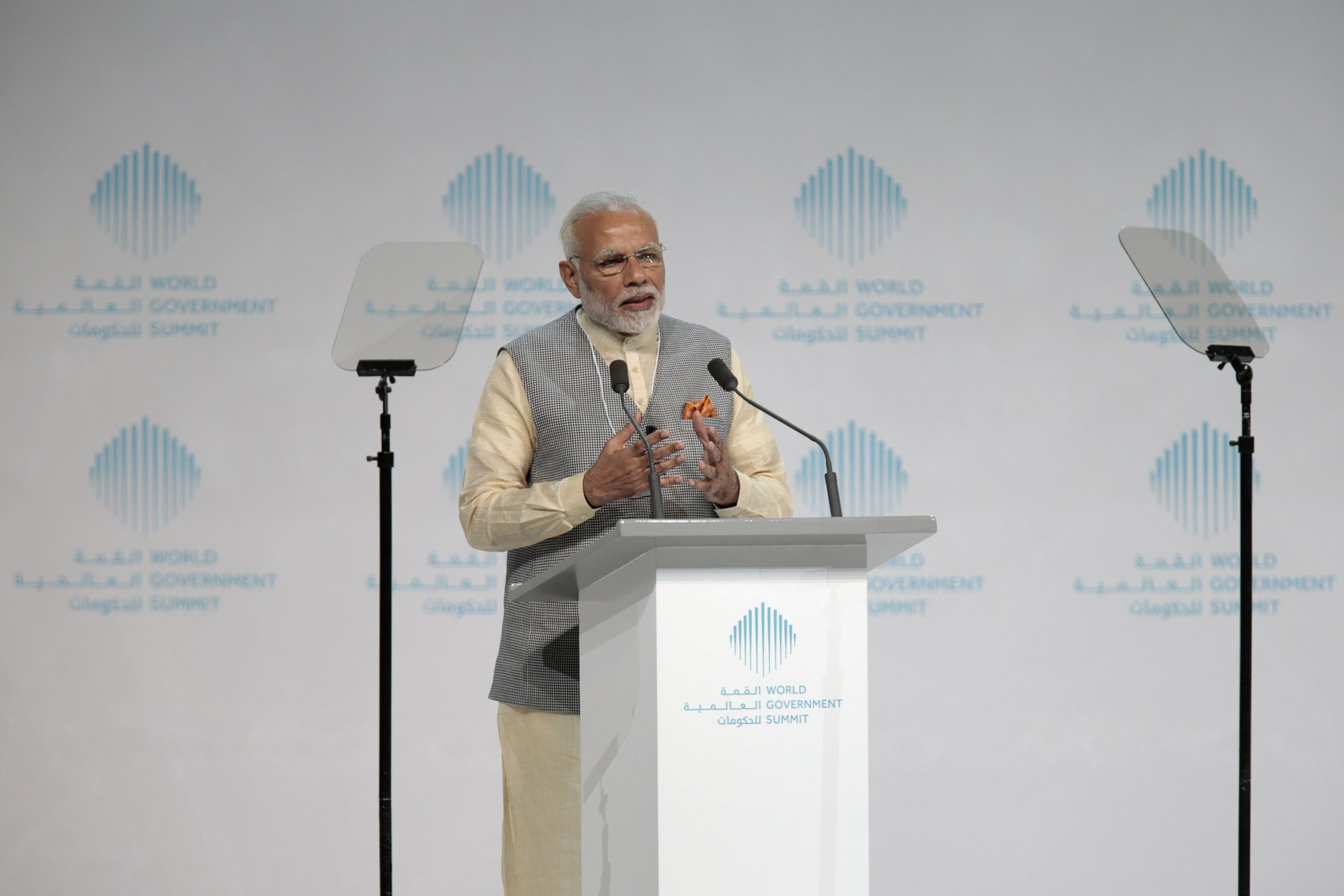 Prime Minister Narendra Modi speaks during the World Government Summit in Dubai on February 11, 2018. (Reuters)