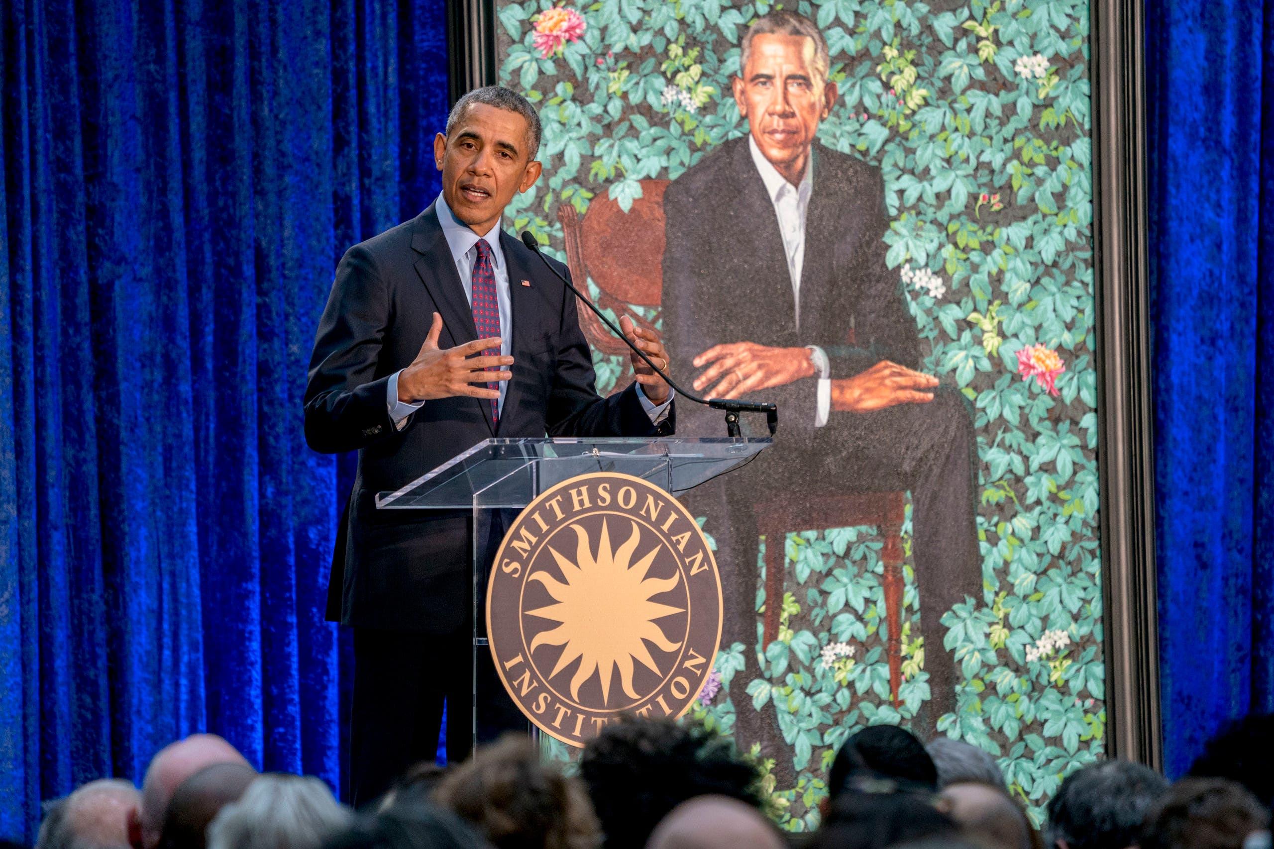 Barack and Michelle Obama portraits smithsonian. (AP)