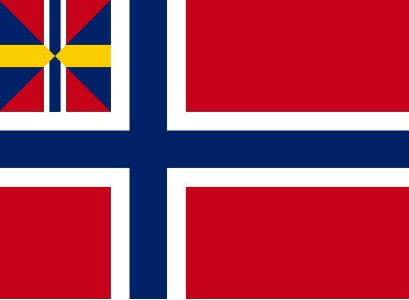 العلم النرويجي في فترة اتحاد السويد والنرويج ما بين أعوام 1844 و1899