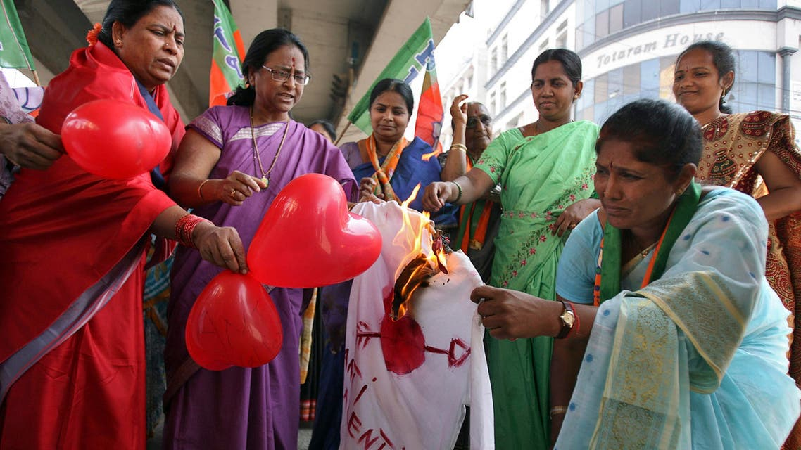 Activists from the Bharatiya Janata Party burn an effigy representing Valentine's Day during a protest in Hyderabad on February 14, 2012. (Reuters)