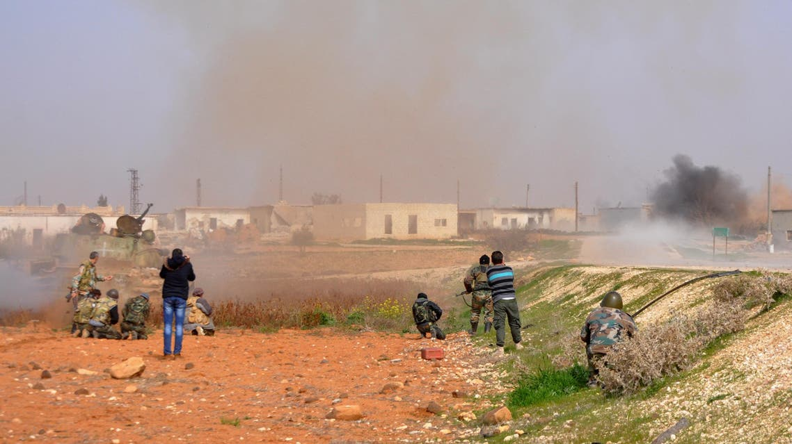 A picture taken on February 9, 2018 in the countryside of Idlib, where Syrian government forces are conducting a major offensive.  STRINGER / AFP