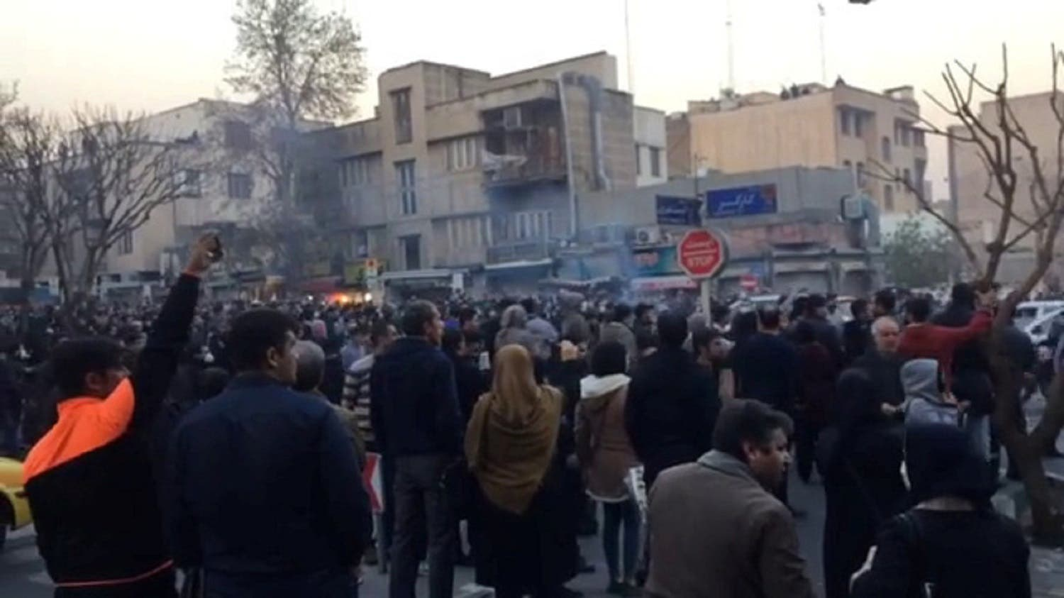People protest in Tehran, Iran December 30, 2017 in this still image from a video obtained by REUTERS.