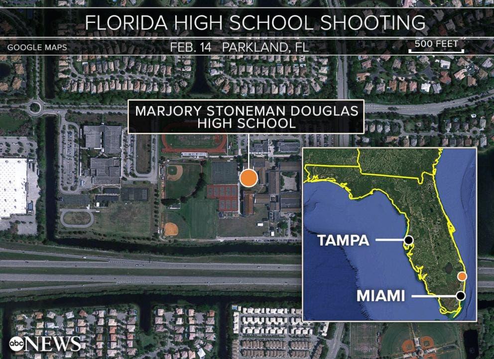خريطة لموقع المدرسة الثانوية في ولاية فلوريدا